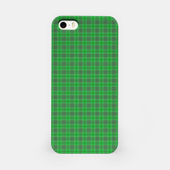 Miniatur Christmas Holly Green and Evergreen Tartan with White Lines iPhone Case, Live Heroes