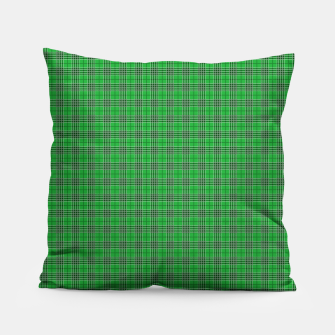 Miniatur Christmas Holly Green and Evergreen Tartan with White Lines Pillow, Live Heroes