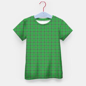 Miniatur Christmas Holly Green and Evergreen Tartan with White Lines Kid's t-shirt, Live Heroes
