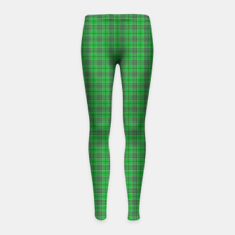 Miniatur Christmas Holly Green and Evergreen Tartan with White Lines Girl's leggings, Live Heroes
