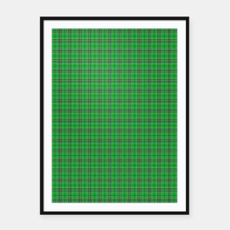 Imagen en miniatura de Christmas Holly Green and Evergreen Tartan with White Lines Framed poster, Live Heroes