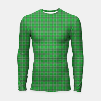 Miniatur Christmas Holly Green and Evergreen Tartan with White Lines Longsleeve rashguard , Live Heroes