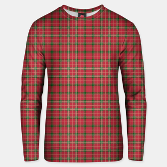 Miniatur Christmas Berry Red and Green Tartan with Beige and White Lines Unisex sweater, Live Heroes