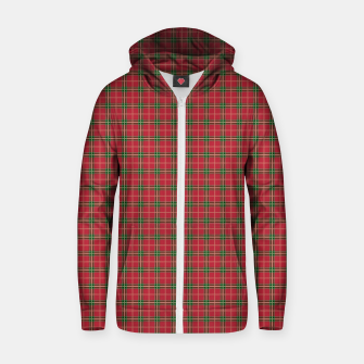 Miniatur Christmas Berry Red and Green Tartan with Beige and White Lines Zip up hoodie, Live Heroes