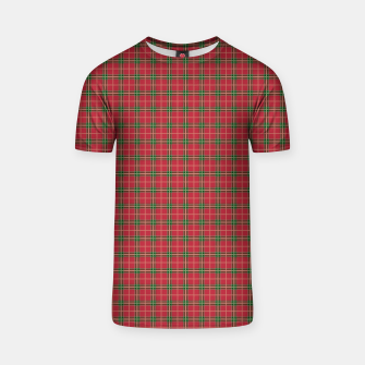 Miniatur Christmas Berry Red and Green Tartan with Beige and White Lines T-shirt, Live Heroes