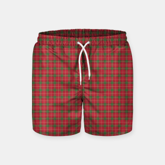 Miniatur Christmas Berry Red and Green Tartan with Beige and White Lines Swim Shorts, Live Heroes