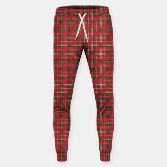 Miniatur Christmas Berry Red and Green Tartan with Beige and White Lines Sweatpants, Live Heroes