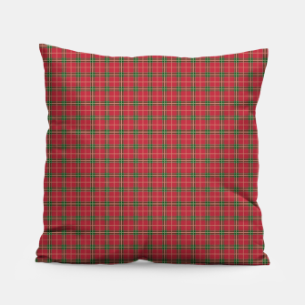 Miniatur Christmas Berry Red and Green Tartan with Beige and White Lines Pillow, Live Heroes