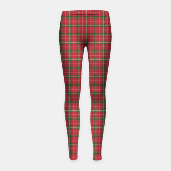 Miniatur Christmas Berry Red and Green Tartan with Beige and White Lines Girl's leggings, Live Heroes
