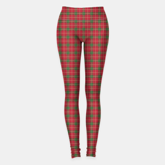 Miniatur Christmas Berry Red and Green Tartan with Beige and White Lines Leggings, Live Heroes