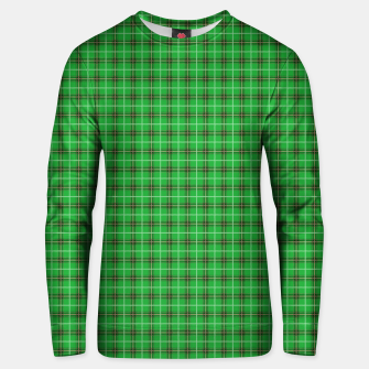 Miniatur Christmas Holly Green and Evergreen Tartan with Red and White Lines Unisex sweater, Live Heroes