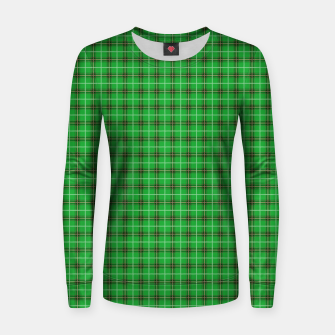 Miniatur Christmas Holly Green and Evergreen Tartan with Red and White Lines Women sweater, Live Heroes