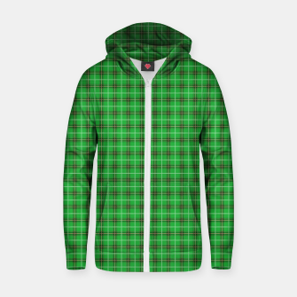 Miniatur Christmas Holly Green and Evergreen Tartan with Red and White Lines Zip up hoodie, Live Heroes