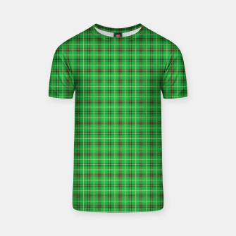 Miniatur Christmas Holly Green and Evergreen Tartan with Red and White Lines T-shirt, Live Heroes