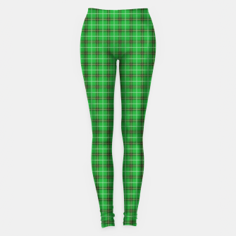 Miniatur Christmas Holly Green and Evergreen Tartan with Red and White Lines Leggings, Live Heroes