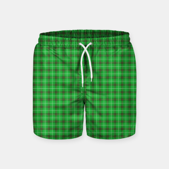 Miniatur Christmas Holly Green and Evergreen Tartan with Red and White Lines Swim Shorts, Live Heroes