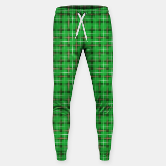Miniatur Christmas Holly Green and Evergreen Tartan with Red and White Lines Sweatpants, Live Heroes