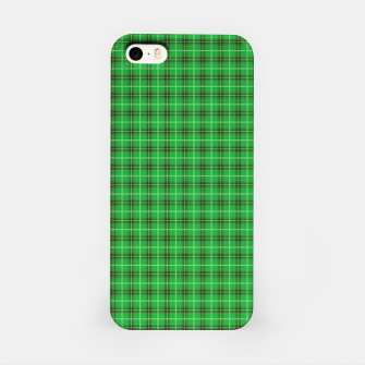 Miniatur Christmas Holly Green and Evergreen Tartan with Red and White Lines iPhone Case, Live Heroes