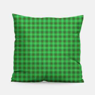 Miniatur Christmas Holly Green and Evergreen Tartan with Red and White Lines Pillow, Live Heroes