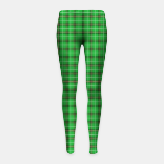 Miniatur Christmas Holly Green and Evergreen Tartan with Red and White Lines Girl's leggings, Live Heroes