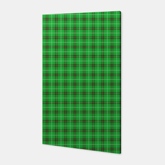Miniatur Christmas Holly Green and Evergreen Tartan with Red and White Lines Canvas, Live Heroes