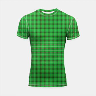Miniatur Christmas Holly Green and Evergreen Tartan with Red and White Lines Shortsleeve rashguard, Live Heroes