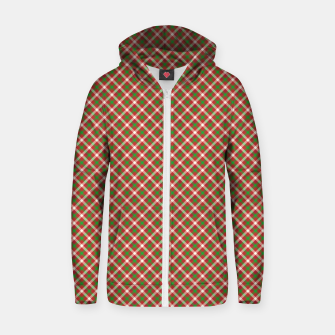 Miniatur Christmas Holly Green and Red Diagonal Tartan with Crossed White Lines Zip up hoodie, Live Heroes