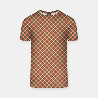 Miniatur Christmas Holly Green and Red Diagonal Tartan with Crossed White Lines T-shirt, Live Heroes