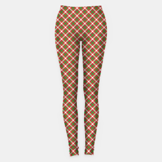 Miniatur Christmas Holly Green and Red Diagonal Tartan with Crossed White Lines Leggings, Live Heroes