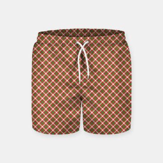 Miniatur Christmas Holly Green and Red Diagonal Tartan with Crossed White Lines Swim Shorts, Live Heroes