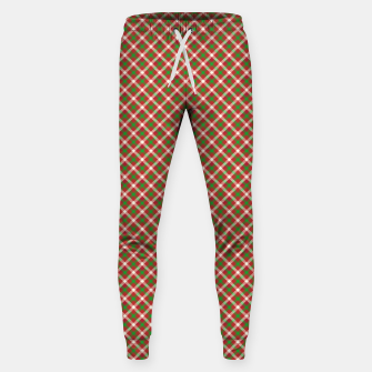 Miniatur Christmas Holly Green and Red Diagonal Tartan with Crossed White Lines Sweatpants, Live Heroes