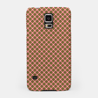 Miniatur Christmas Holly Green and Red Diagonal Tartan with Crossed White Lines Samsung Case, Live Heroes