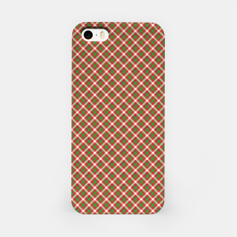 Miniatur Christmas Holly Green and Red Diagonal Tartan with Crossed White Lines iPhone Case, Live Heroes