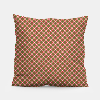 Miniatur Christmas Holly Green and Red Diagonal Tartan with Crossed White Lines Pillow, Live Heroes