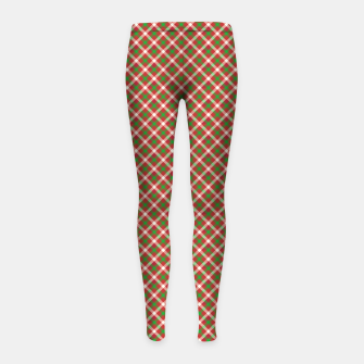 Miniatur Christmas Holly Green and Red Diagonal Tartan with Crossed White Lines Girl's leggings, Live Heroes