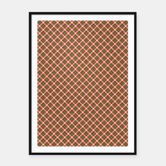 Imagen en miniatura de Christmas Holly Green and Red Diagonal Tartan with Crossed White Lines Framed poster, Live Heroes