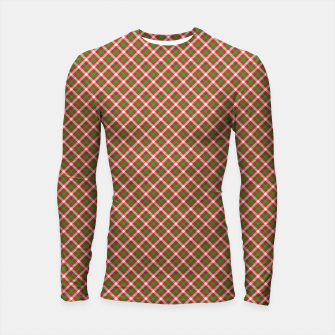 Miniatur Christmas Holly Green and Red Diagonal Tartan with Crossed White Lines Longsleeve rashguard , Live Heroes