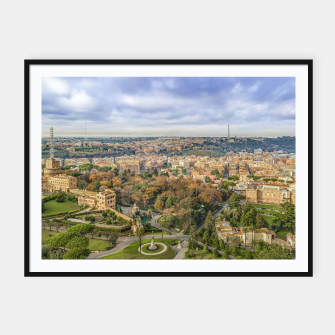 Thumbnail image of Vatican Gardens Aerial View, Rome, Italy Framed poster, Live Heroes