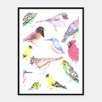 Thumbnail image of Various birds stained glass art  Framed poster, Live Heroes