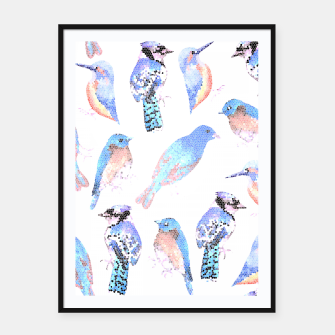 Thumbnail image of Blue birds in mosaic effect Framed poster, Live Heroes