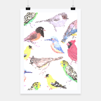 Miniatur Various birds stained glass art  Poster, Live Heroes