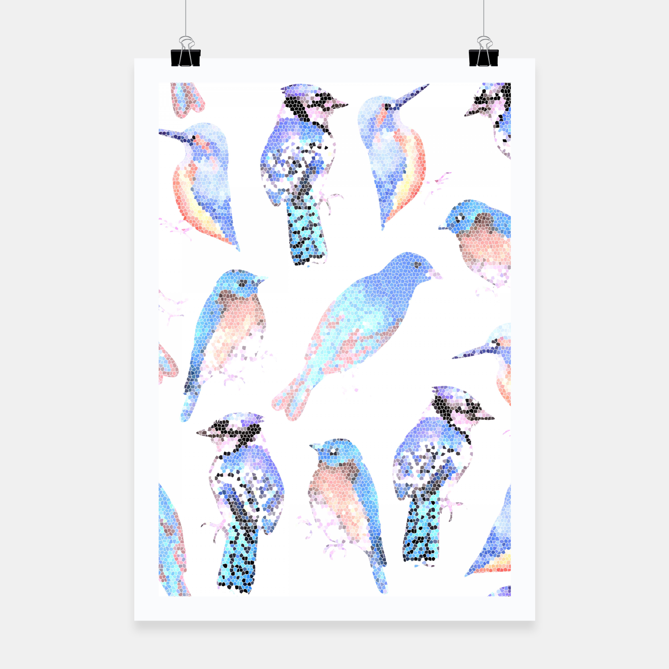 Foto Blue birds in mosaic effect Poster - Live Heroes