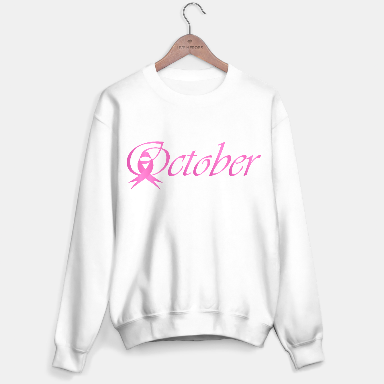 Foto Word October with pink ribbon that stand for breast cancer awareness month Sweater regular - Live Heroes