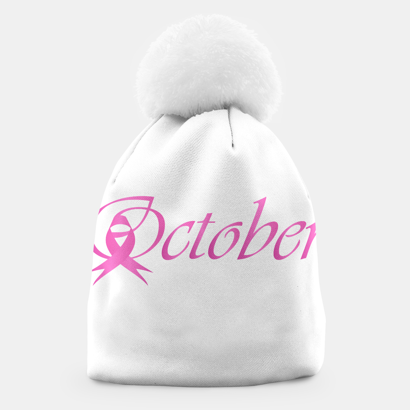Foto Word October with pink ribbon that stand for breast cancer awareness month Beanie - Live Heroes