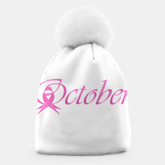 Thumbnail image of Word October with pink ribbon that stand for breast cancer awareness month Beanie, Live Heroes