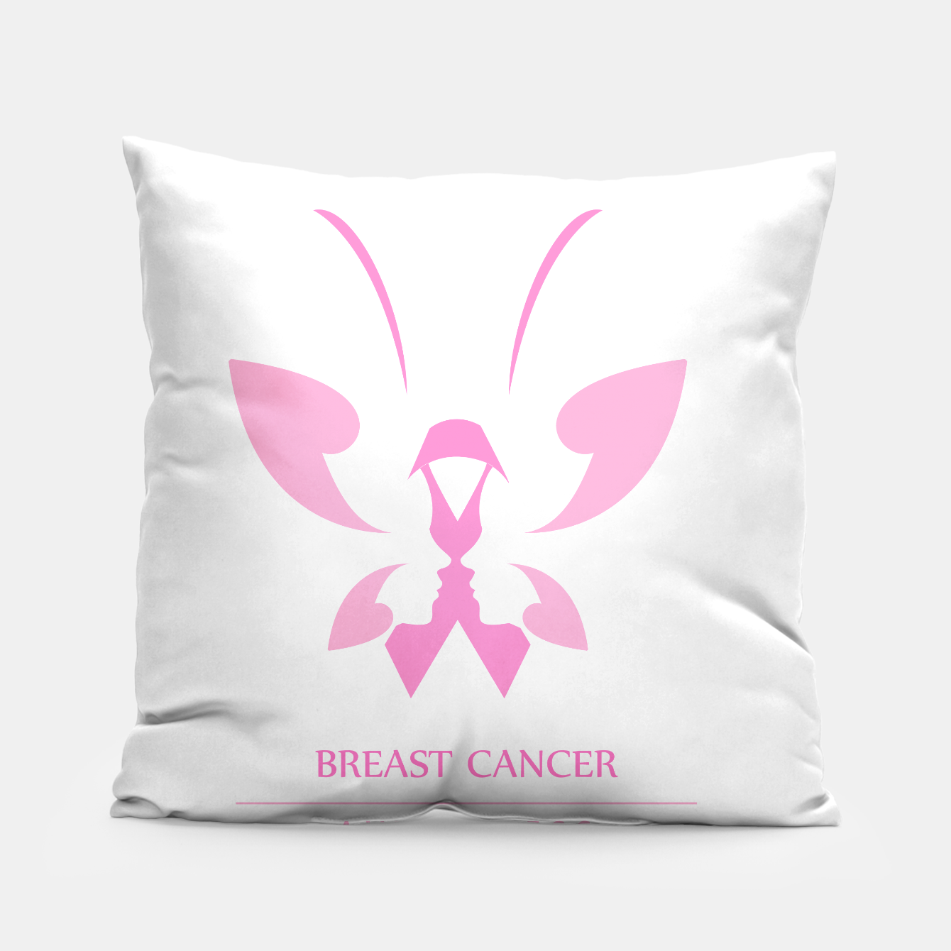 Foto Pink ribbon with faces of women and butterfly to symbolize breast cancer awareness month october Pillow - Live Heroes
