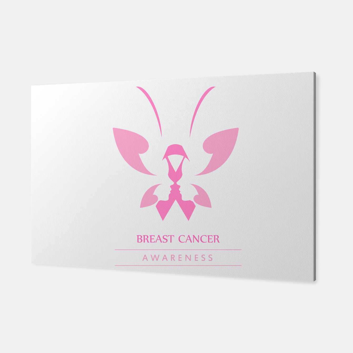 Foto Pink ribbon with faces of women and butterfly to symbolize breast cancer awareness month october Canvas - Live Heroes