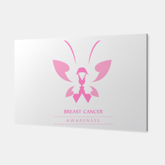 Miniatur Pink ribbon with faces of women and butterfly to symbolize breast cancer awareness month october Canvas, Live Heroes