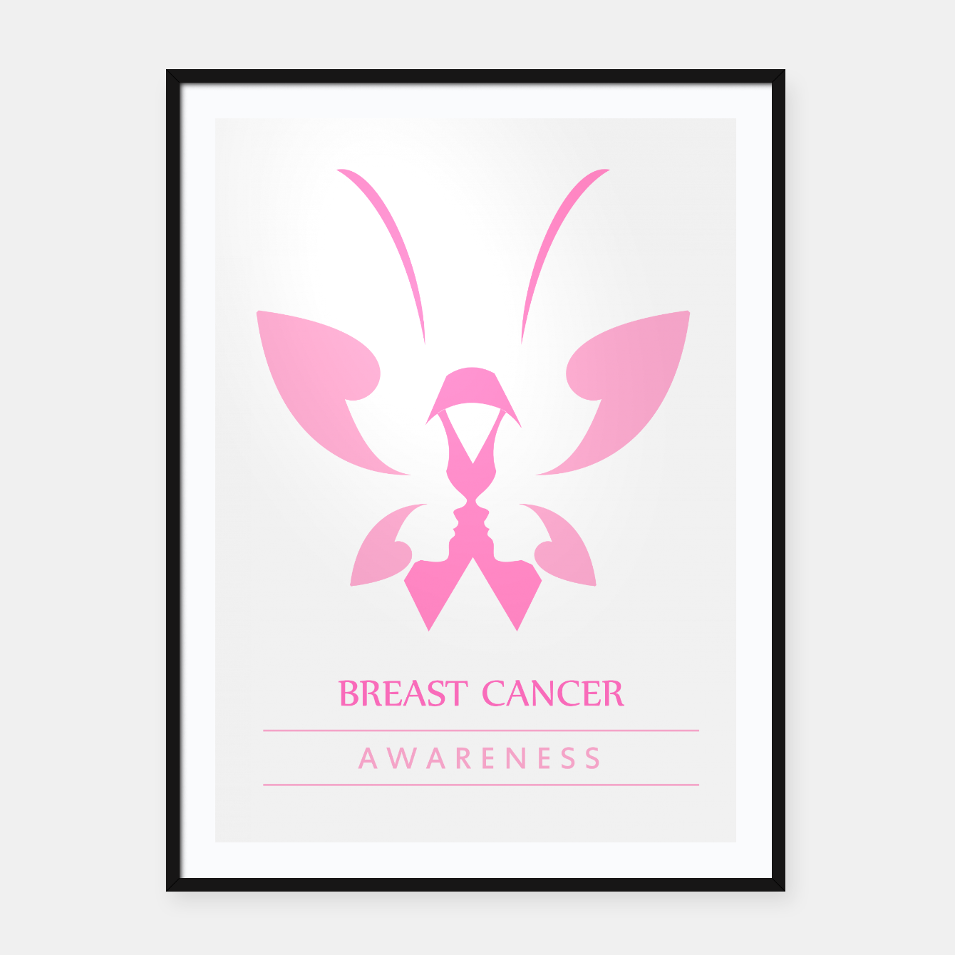 Image of Pink ribbon with faces of women and butterfly to symbolize breast cancer awareness month october Framed poster - Live Heroes