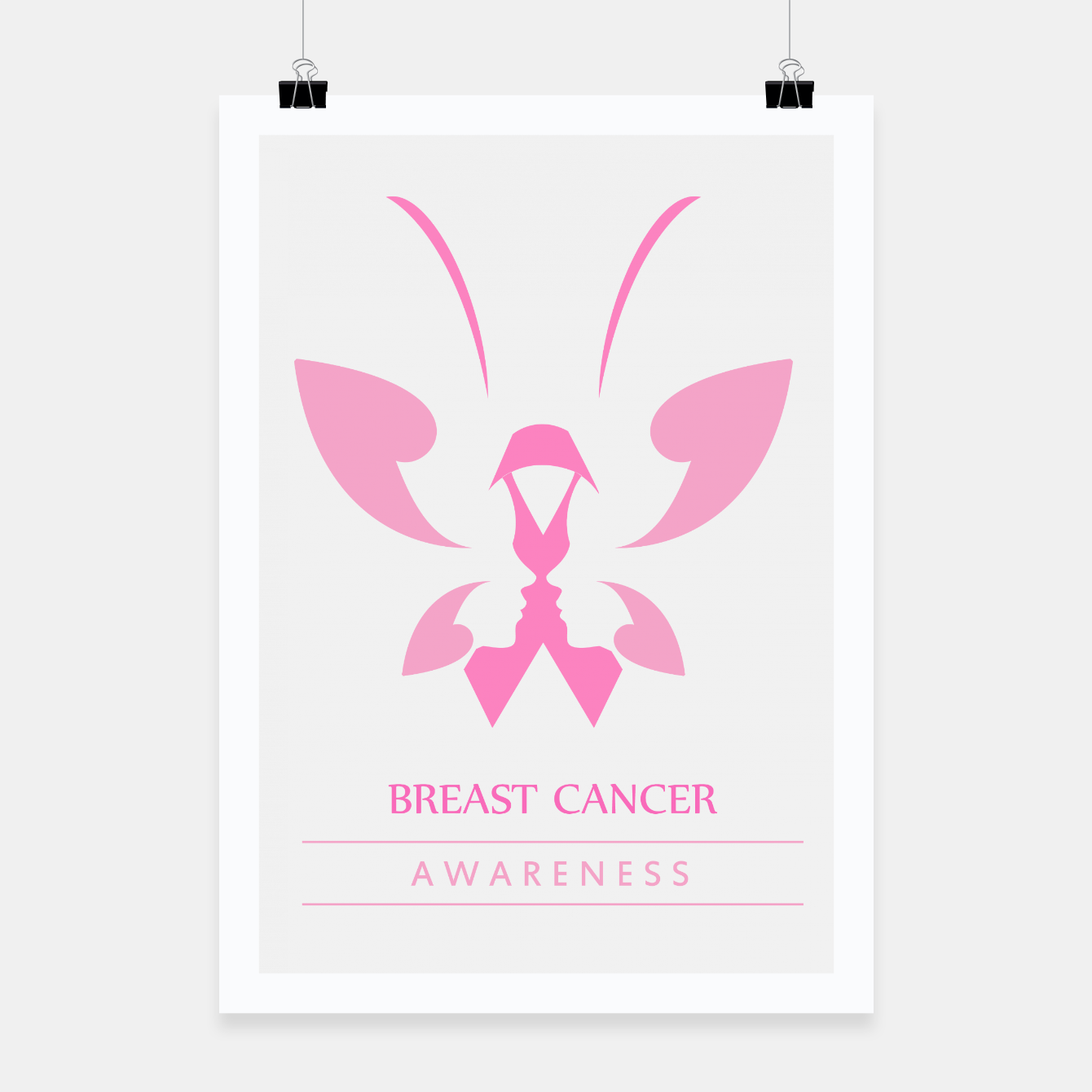 Foto Pink ribbon with faces of women and butterfly to symbolize breast cancer awareness month october Poster - Live Heroes